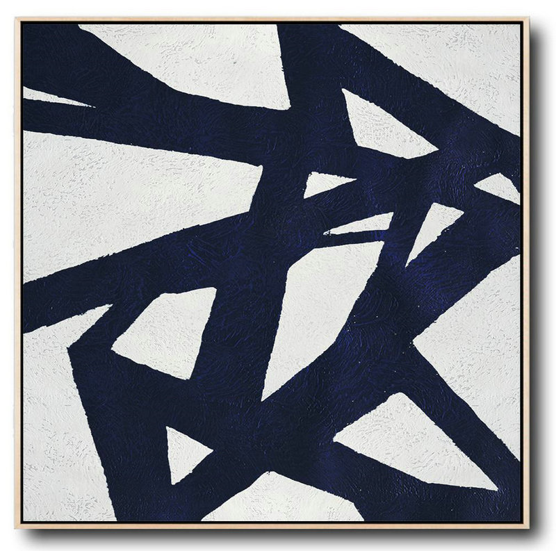 Buy Large Canvas Art Online - Hand Painted Navy Minimalist Painting On Canvas,Large Abstract Art #S4D7